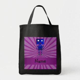 Personalized name robot purple sunburst tote bags