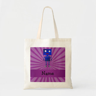 Personalized name robot purple sunburst bag