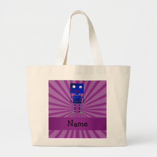Personalized name robot purple sunburst tote bag