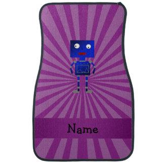 Personalized name robot purple sunburst car mat