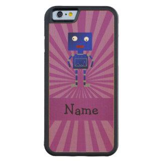 Personalized name robot purple sunburst carved® maple iPhone 6 bumper