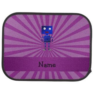 Personalized name robot purple sunburst floor mat