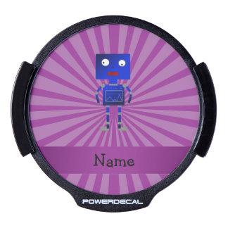 Personalized name robot purple sunburst LED window decal