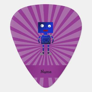 Personalized name robot purple sunburst guitar pick