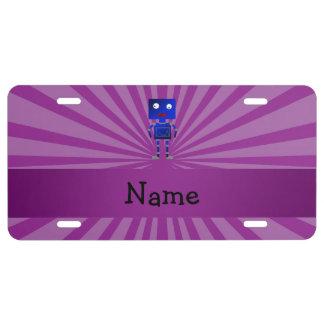 Personalized name robot purple sunburst license plate