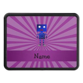 Personalized name robot purple sunburst hitch cover
