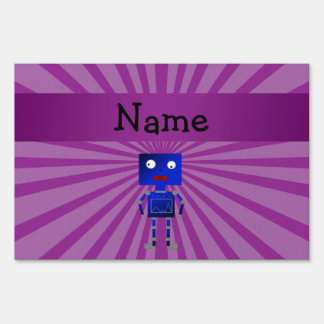 Personalized name robot purple sunburst sign