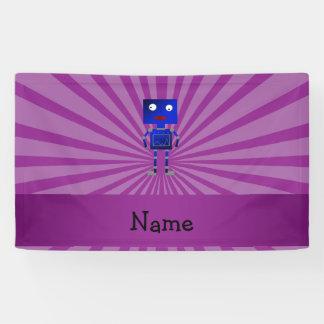 Personalized name robot purple sunburst banner
