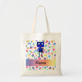Personalized name robot rainbow polka dots canvas bag