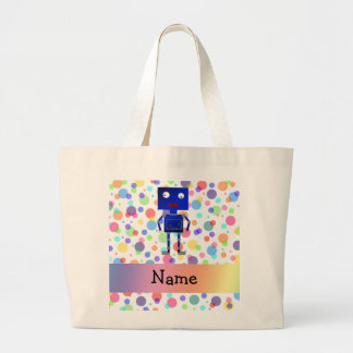 Personalized name robot rainbow polka dots canvas bags