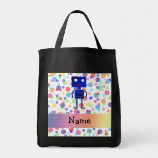 Personalized name robot rainbow polka dots tote bag