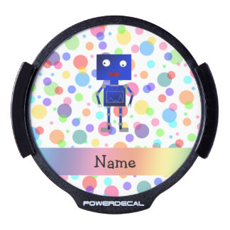 Personalized name robot rainbow polka dots LED car window decal