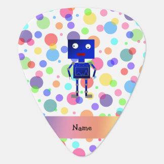 Personalized name robot rainbow polka dots guitar pick