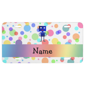 Personalized name robot rainbow polka dots license plate