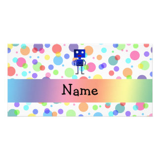 Personalized name robot rainbow polka dots photo card