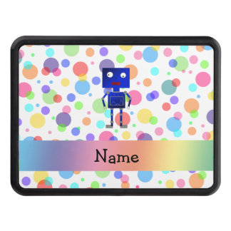 Personalized name robot rainbow polka dots hitch cover
