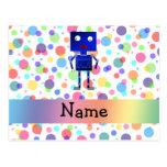 Personalized name robot rainbow polka dots postcard