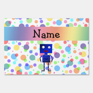 Personalized name robot rainbow polka dots lawn sign