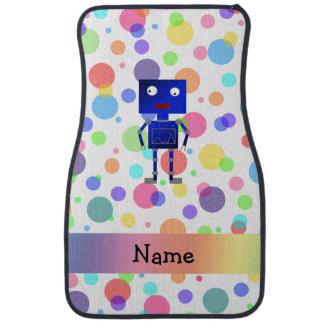 Personalized name robot rainbow polka dots floor mat