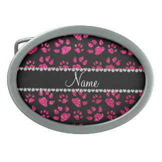 Personalized name rose pink glitter cat paws belt buckle