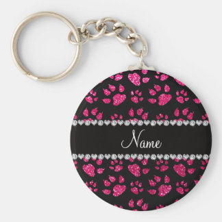 Personalized name rose pink glitter cat paws basic round button keychain