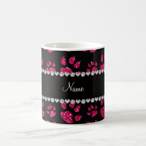 Personalized name rose pink glitter cat paws coffee mug