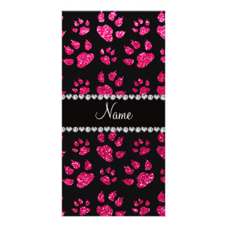 Personalized name rose pink glitter cat paws personalized photo card