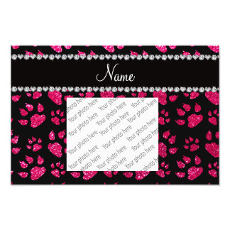 Personalized name rose pink glitter cat paws photo art
