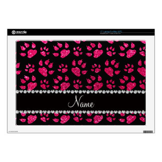 """Personalized name rose pink glitter cat paws skins for 17"""" laptops"""
