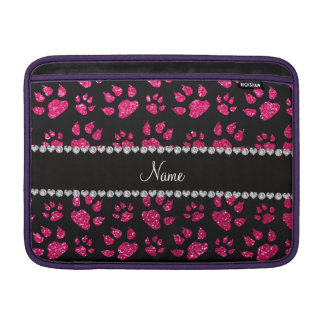 Personalized name rose pink glitter cat paws sleeves for MacBook air