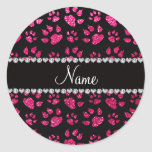 Personalized name rose pink glitter cat paws round stickers