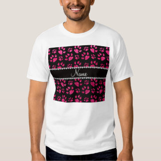 Personalized name rose pink glitter cat paws t-shirt