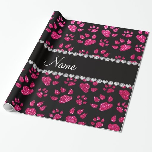 Personalized name rose pink glitter cat paws wrapping paper