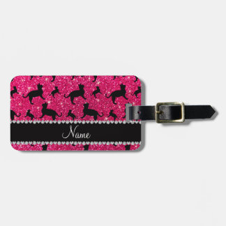 Personalized name rose pink glitter cats travel bag tag