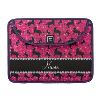 Personalized name rose pink glitter cats MacBook pro sleeve