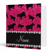 Personalized name rose pink glitter cows 3 ring binder