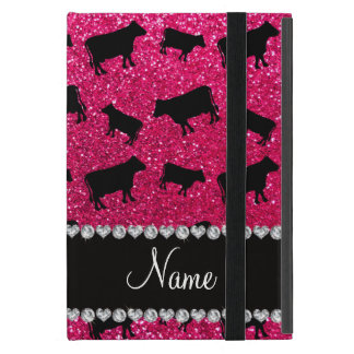 Personalized name rose pink glitter cows cover for iPad mini