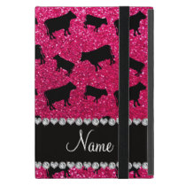 Personalized name rose pink glitter cows iPad mini case
