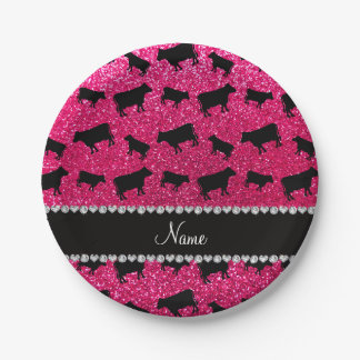Personalized name rose pink glitter cows 7 inch paper plate