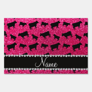 Personalized name rose pink glitter cows signs