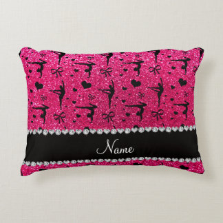 Personalized name rose pink glitter gymnastics accent pillow