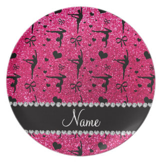 Personalized name rose pink glitter gymnastics melamine plate