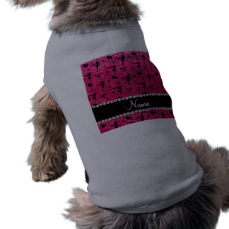 Personalized name rose pink glitter gymnastics pet tee