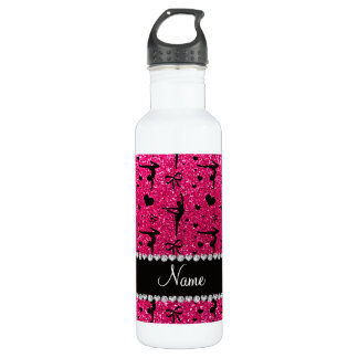 Personalized name rose pink glitter gymnastics stainless steel water bottle