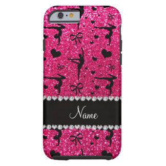 Personalized name rose pink glitter gymnastics tough iPhone 6 case