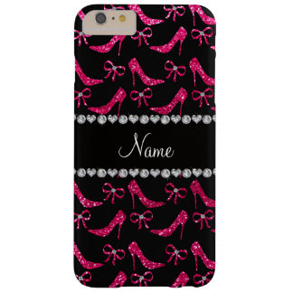 Personalized name rose pink glitter high heels bow barely there iPhone 6 plus case