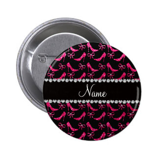 Personalized name rose pink glitter high heels bow pin