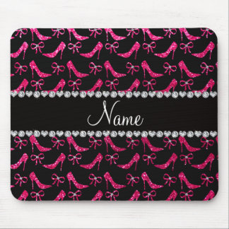 Personalized name rose pink glitter high heels bow mouse pad