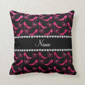Personalized name rose pink glitter high heels bow pillow