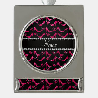 Personalized name rose pink glitter high heels bow silver plated banner ornament